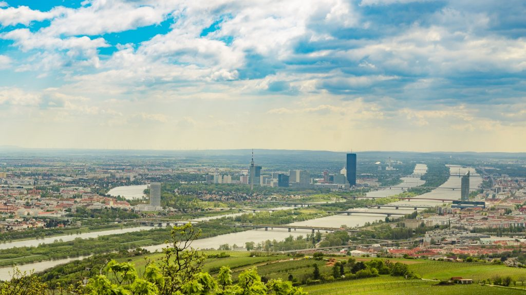 View from Kahlenberg hill on vienna cityscape. Tourist spot